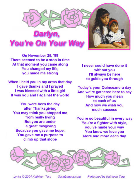 Personalized Quinceanera song lyric sheet page 1