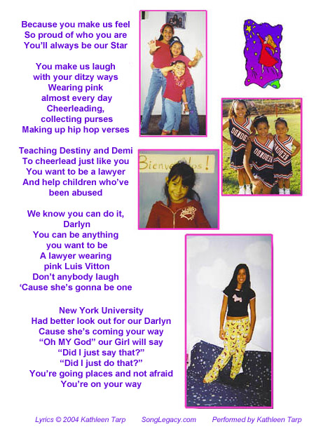 Personalized Quinceanera song lyric sheet page 2